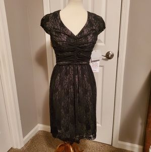 NWT Andrew Marc Black Lace Fit and Flare Dress